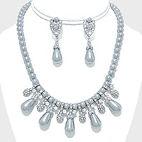 PEARL & RHINESTONE EVENING NECKLACE